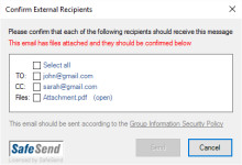 Warning in Outlook when sending to external domains