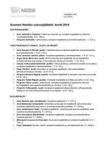 Kevään 2014 jäätelöuutuuksien tuotetiedot