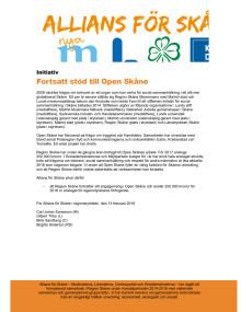Initiativ från Allians för Skåne: Fortsatt stöd till Open Skåne