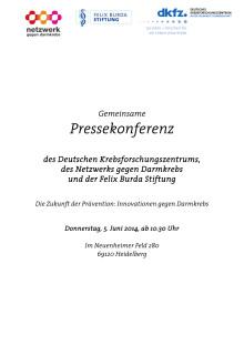 Pressemappe. 5.Juni 2014: Die Zukunft der Prävention - Innovationen gegen Darmkrebs