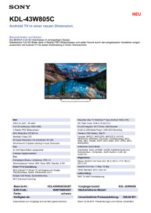 KDL-43W805C von Sony