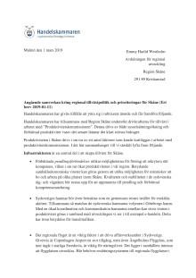 """Remissvar """"Angående samverkan kring regional tillväxtpolitik och prioriteringar för Skåne"""""""