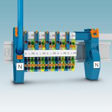 Inmatningsplint för nollsamlingsskena med Push-In anslutning