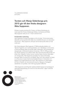 Ilkka Suppanen mottagare av Torsten och Wanja Söderbergs pris 2015