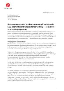 Humana remissvar SOU 2014