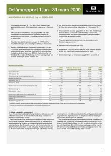 Delårsrapport 1 januari - 31 mars 2009