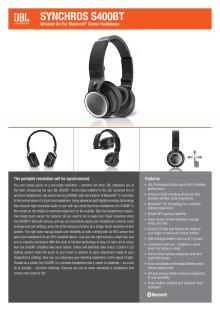 Specification Sheet - JBL SYNCHROS S400BT