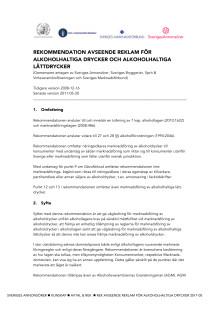 Rekommendation avseende reklam för alkoholhaltiga drycker 2011