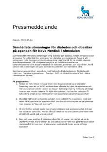 Samhällets utmaningar för diabetes och obesitas på agendan för Novo Nordisk i Almedalen