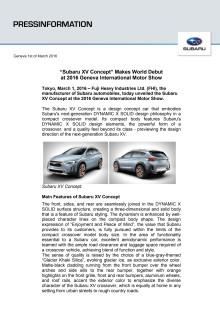 Världspremiär för Subaru XV Concept