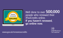 Record 500,000 people renew tax credits online