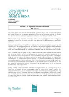 motivatieverslag Ultima 2016 Algemene Culturele Verdienste