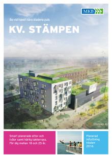 Information om kv. Stämpen och 130 ungdomsbostäder i Västra hamnen
