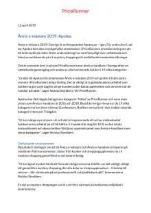 Pressrelease Pricerunner 12 april 2019, Årets e-handlare 2019