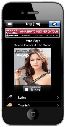 "Shazam Launches First US ""Golden Tag"" Music Promotion with Celebrity Actress and Singer Selena Gomez"