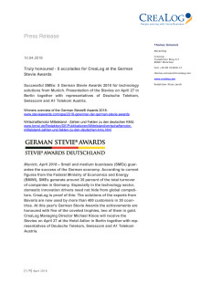 Press Release German Stevie Awards / CreaLog English Version