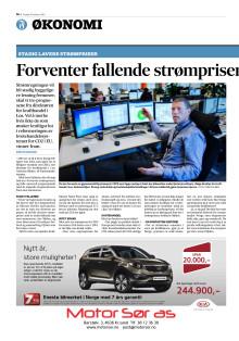 Presseklipp fra Fædrelandsvennen 10.02.2015 - Fallende strømpriser tredje året på rad