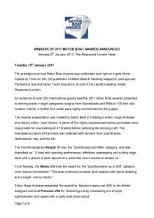 Winners of 2017 Motor Boat Awards Announced
