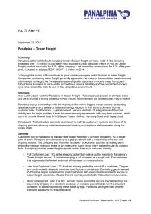 Fact Sheet: Panalpina – Ocean Freight
