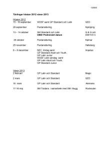 Tiodans-tävlingar hösten 2012 och våren 2013