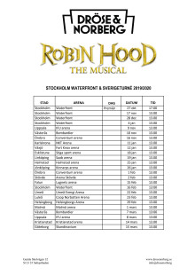 Turnéplan - Robin Hood The Musical 2019/2020