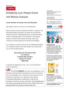 Einladung zum Presse-Event mit Monica Ivancan