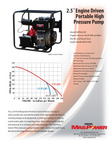 Specifications - Maspower MPW2.5PE Portable High Pressure Pump