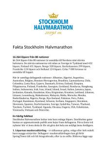 Pressfakta Stockholm Halvmarathon 2015
