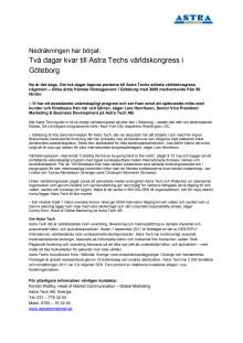 Nedräkningen har börjat: Två dagar kvar till Astra Techs världskongress i Göteborg