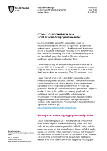 Stadsövergripande resultat Stockholmsenkäten 2016