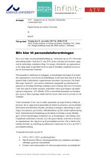 Bliv klar til persondataforordningen - program for seminar i Aarhus 21. november 2017