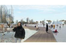 Dagvattenpark med gångstråk ut i Mariebergsviken del av kommunens vision för Viken