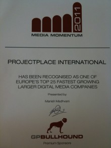Projectplace recognised as one of Europe's fastest growing companies