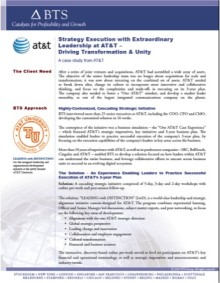 Strategy Execution with Extraordinary Leadership at AT&T – Driving Transformation & Unity. A case study from AT&T