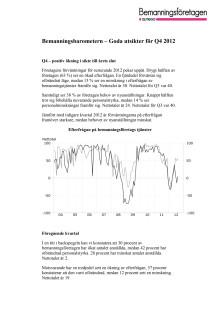 Bemanningsbarometern Q4 2012 - positiv ökning i sikte till årets slut