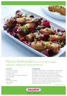 Opskrift: Macau forårsruller med lun salat af bagte rødbeder, rødløg og hasselnøddeknas