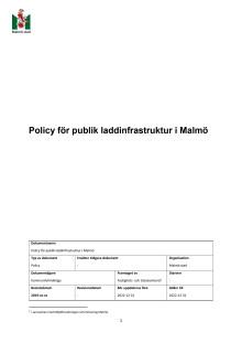 Förslag policy för publik laddinfrastruktur i Malmö