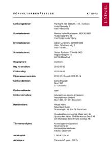 Förvaltarberättelse för PanAlarm AB