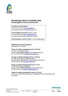 VM landsväg i Doha 11-16 oktober - presskontakter