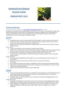 Årsrapport barnhälsovård Region Skåne 2013