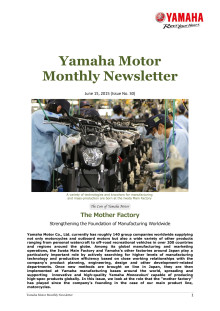 Yamaha Motor Monthly Newsletter No.30(Jun.2015) The Mother Factory