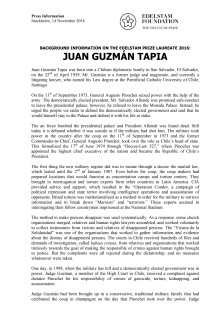 BACKGROUND INFORMATION ON THE EDELSTAM PRIZE LAUREATE 2016: JUAN GUZMÁN TAPIA