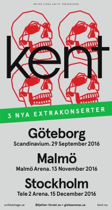 Efter enormt publiktryck – kent ger ytterligare extrakonserter i Göteborg, Malmö och Stockholm