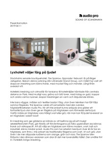 Lyxhotell väljer färg på ljudet