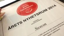 Swecon Anläggningsmaskiner vinnare av Årets Nyhetsrum 2014