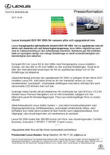 Lexus kompakt-SUV NX 300h får vassare yttre och uppgraderat inre
