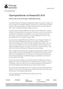 Öppningsanförande av Henrik Lindh tf chef utbildningsförvaltningen vid ResearchEd 2019