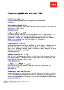 Evenemangskalender sommar 2016 Åre