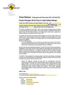 Euro NCAP press release Dec 2018