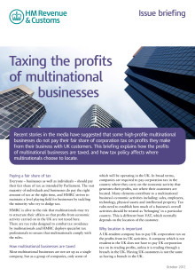 HMRC Briefing - Taxing the profits of multinational businesses